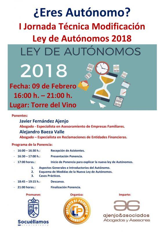 """Imagen Ponencia """"Ley de Autónomos 2018"""""""