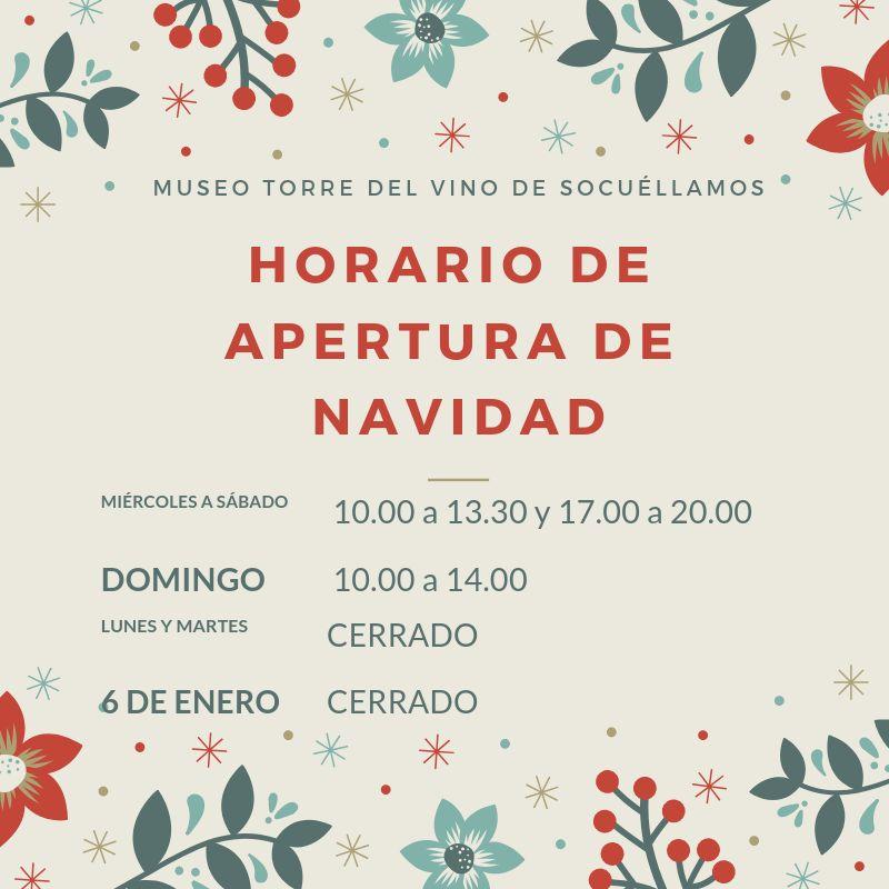Imagen Horario de apertura del Museo Torre del Vino de Socuéllamos en Navidad